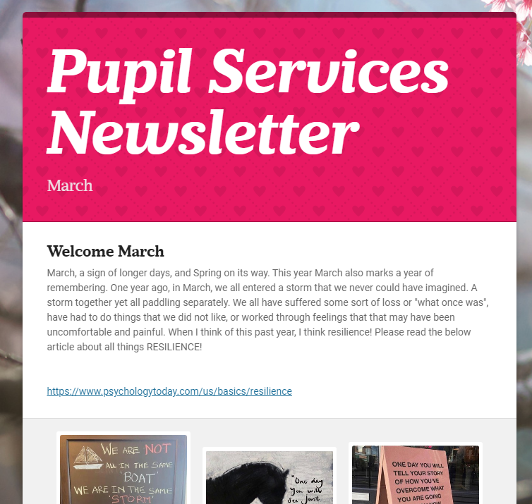 Pupil Services March Newsletter
