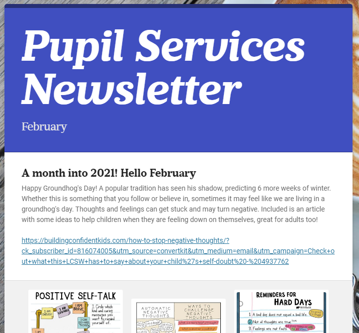 Pupil Services February Newsletter